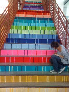These knitted stairs are in the lobby at GSD&M,