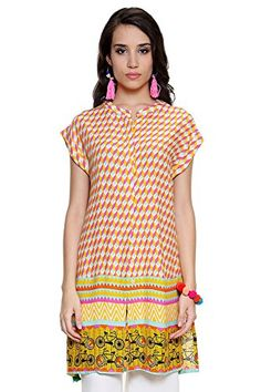 Global Desi Womens Boho Abstract Print Button Down Tunic Small Cream ** Check this awesome product by going to the link at the image.(This is an Amazon affiliate link and I receive a commission for the sales)