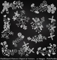 Chalkboard Flowers Clipart Clip Art Chalk Board by PinkPueblo