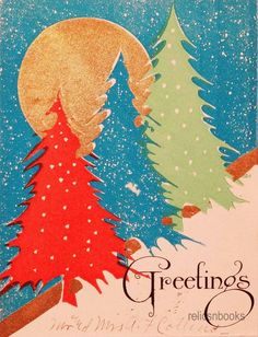 30s Art Deco Trees & Moon-Vintage Christmas Card Flat-Greeting  LOVE the colors