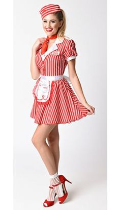 They'll be lined up at the door, darling! A styled red and white striped flare dress with an attached petticoat, cheeky heart buttons and screen printed 'Betty' nameplate. Fabulously includes a matching hat with heart button detail, lace edged apron Work Appropriate Halloween Costumes, White Halloween Costumes, White Costumes, Costume Hire, Red Costume, Doll Costume, Burlesque Costumes, Girl Costumes, 1950s Costumes