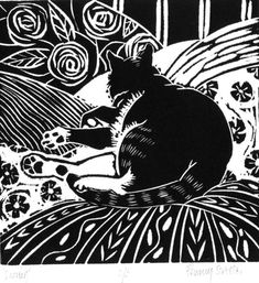 catnap lino print - edition of 10 .Penny Streeter, 14 x 14 cm Linocut Prints, Art Prints, Block Prints, Art And Illustration, Illustrations, Linoprint, Art Graphique, Wood Engraving, Woodblock Print