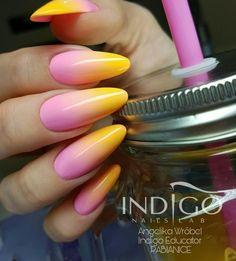 Miss America Gel Polish & Troublemaker Gel Brush Nails Design: Angelika Wróbel #nails #nail #nailsart #indigonails #indigo #hotnails #summernails #springnails #omgnails #amazingnails #inspiration #effectnails #effect #ombre #ombrenails #pinknails #yellow #troublemaker