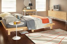 nice bedding & bedside table -- from room & board
