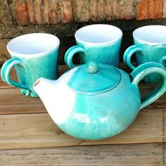 Купить Кружка - бирюзовый, сервиз, чашка, кружка, посуда, ручная работа, Керамика