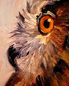Owl Portrait Original Bird Oil Painting Brown by smallimpressions