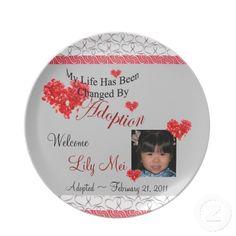 My Life Changed by Adoption Custom PHOTO Plate! #adoptionplates #photoplates