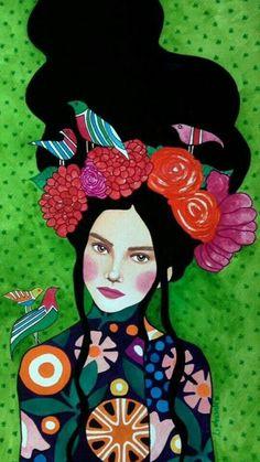 "green - woman with birds - ""best kept secret"" - watercolor on paper - illustration - Hülya Özdemir Art And Illustration, Collage Illustrations, Arte Inspo, Tableau Pop Art, Arte Pop, Portrait Art, Portraits, Painting Inspiration, Female Art"