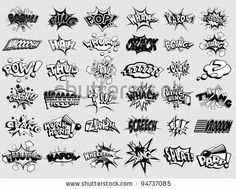 stock vector : Black and white cartoon text captions. explosions and noises