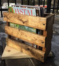 Rustic magazine holder/magazine rack/ restaurant by BlackIronworks