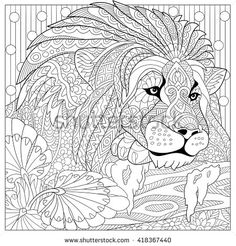 Zentangle stylized cartoon lion (wild cat, leo zodiac). Hand drawn sketch for adult antistress coloring page, T-shirt emblem, logo or tattoo with doodle, zentangle, floral design elements.