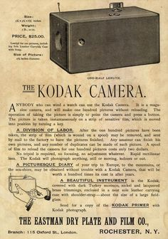 The Kodak Camera. From Duke Digital Collections. Collection: Emergence of Advertising in America (1888 b/w drawing)