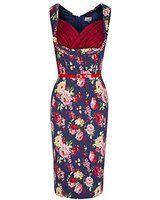 Lindy Bop 'Vanessa' Elegant Navy Blue Floral Print Vintage 50's Wiggle Dress