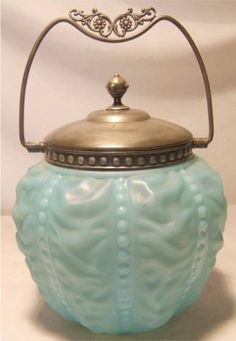 1123: Antique Victorian Biscuit Jar with Silver Plate T : Lot 1123