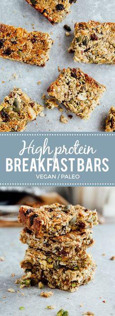 Protein Breakfast Bars (Vegan + Paleo) sub craisins for raisins and I'm in