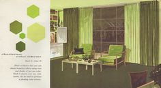"Color: Chartreuse color scheme from the Mid Century decorating book ""Window Decorating Made Easy by Kirsch"", Mid Century Decor, Mid Century House, Mid-century Interior, Interior Design, Top Paint Colors, Vintage Color Schemes, Trending Paint Colors, Chartreuse Color, Vintage Room"