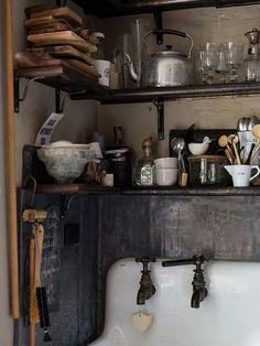 vintage kitchen storage via society nest / sfgirlbybay Rustic Kitchen, Country Kitchen, Vintage Kitchen, Kitchen Dining, Kitchen Decor, Kitchen Shelves, Country Living, Kitchen Storage, Vintage Sink