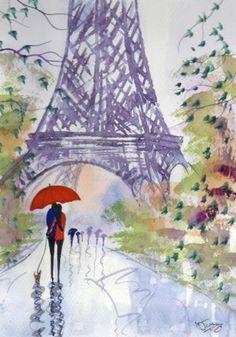 Original Signed Watercolour Painting ~ Rainy Day Paris ~ BY KJ CARR