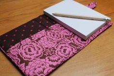 A6 notepad, notebook,with removable cover in Valentine rose print fabric £12.00