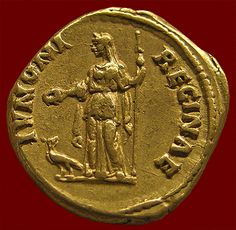 A gold coin, an aureus of Faustina the Elder, 139 CE, depicts Juno Regina, holding her symbolic attribute of a sceptre, with another, a peacock, by her feet. (National Museum Copenhagen via vroma.org)