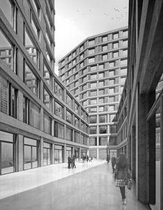 Europaallee Zürich Baufeld F | Boltshauser Architekten, Zürich, Schweiz Concept Architecture, Architecture Design, Architecture Visualization, Design Competitions, Art Deco, Construction, Architect Drawing, Building, Eero Saarinen