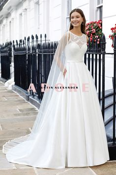 #adorebyjustinalexander #weddingdress #justinalexander Lace Wedding Dress, One Shoulder Wedding Dress, Bridal Gowns, Wedding Gowns, Wedding Veil, Justin Alexander, Sabrina Neckline, Cathedral Length Veil, Chiffon
