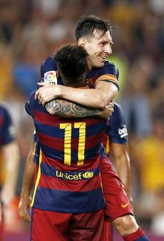 Picture: Messi and Neymar celebrating #fcblive [via @forca_fcb]