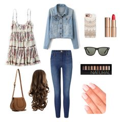 """Untitled #4"" by bethzac on Polyvore featuring American Eagle Outfitters, Frame Denim, Casetify, Ray-Ban, Chloé, Forever 21, Elegant Touch and Charlotte Tilbury"