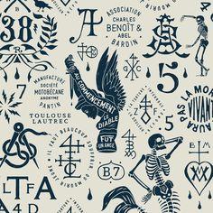 Black and cream French print Merman's skeleton La Santa Muerte Tattoo, Inspiration Logo Design, Design Ideas, Tattoo Flash Art, Badge Design, Art Graphique, Grafik Design, Design Art, Branding Design
