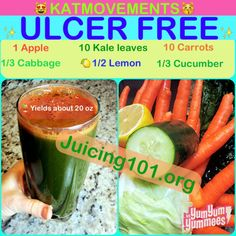 Juicing Vegetables & Fruit   ✨ULCER FREE JUICE RECIPE!  Cabbage juice can relieve stomach pain and cure ulcers if you quit processed, fried, & unnatural foods and stick with a healthy macrobiotic diet including cabbage juice combinations!   https://www.facebook.com/JUICING101  TO YOUR HEALTH!  Kat  =^.^=