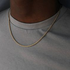 Gold Rope Chain - quality gold plated necklace - Mens gold necklace - Gold chain men - Jewelry Gift for him or her UNISEX Gold Rope Chain -Model is male, 510 & a size S/M (For size reference) Gold plated stainl Gold Necklace For Men, Mens Chain Necklace, Chain Necklaces, Chain Jewelry, Necklaces For Men, Jewelry For Men, Layering Necklaces, Wrap Bracelets, Steampunk Necklace