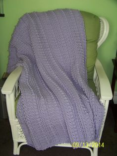 Large Adult Sized Lilac (light purple) Blanket, crochet - pinned by pin4etsy.com
