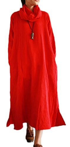 Soojun Womens Cowl Neck Cotton Linen Maxi Dresses with Pockets Red >>> To view further for this item, visit the image link.