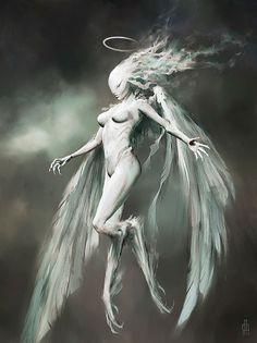 Virgo (Vierge) : zodiac monsters fantasy digital art by Damon Hellandbrand Ralph Mcquarrie, Boris Vallejo, Corel Painter, Dark Fantasy, Fantasy Art, Ange Demon, 12 Zodiac Signs, Virgo Zodiac, 12 Signs