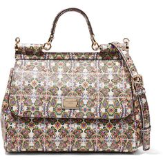 Dolce & Gabbana - Dauphine Printed Textured-leather Shoulder Bag (5.135 BRL) ❤ liked on Polyvore featuring bags, handbags, shoulder bags, multi, multi colored purses, multi color purse, white shoulder bag, shoulder handbags and colorful purses