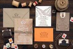 Wood Orange Sun Valley Wedding Invitations Lovely Paper Things Lauren + Marshalls Rustic Mountain Wedding Invitations