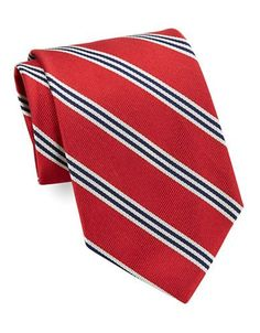 Brooks Brothers Classic Multi-Striped Silk Tie Men's Red