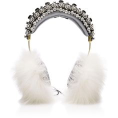 Dolce & Gabbana Embellished Headphones (31.050 RON) ❤ liked on Polyvore featuring accessories, tech accessories, multi, dolce gabbana crown, crown headphones and dolce gabbana headphones