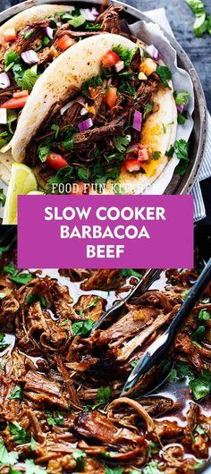 SLOW COOKER BARBACOA BEEF | Food Fun Kitchen Crockpot Dessert Recipes, Meat Recipes, Slow Cooker Recipes, Seafood Recipes, Chicken Recipes, Cooking Recipes, Healthy Recipes, Delicious Recipes, Slow Cooker Barbacoa