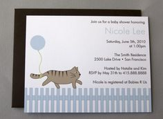 Cat with Blue Balloon A2 Flat Note Baby Shower by RatDogInk, $17.00