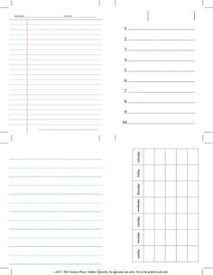 printable journal cards - use in mini books