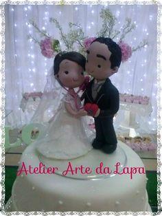 Topo de bolo casamento estilo fofinhos. #Biscuit #AtelierArtedaLapa