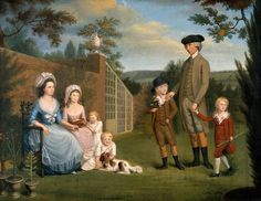 1786 Unknown artist. John Coakley Lettsom (1733–1810), with His Family on an ornamental Garden Bench, in the Garden of Grove Hill, Camberwell