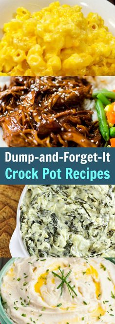 The BEST and Easiest Dump-and-Forget-It Crock Pot Recipes Now you have no excuse not to cook! These are The BEST and Easiest Dump-and-Forget-It Crock Pot Recipes ever and you're going to love them! Crockpot Dump Recipes, Crockpot Dishes, Crock Pot Slow Cooker, Potluck Recipes, Slow Cooker Recipes, Cooking Recipes, Crock Pot Dump Meals, Crock Pots, Crockpot Ideas