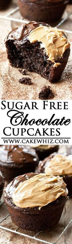 Transcendent Diabetes Recipes Slimming World Ideas These delicious SUGAR FREE CHOCOLATE CUPCAKES are made with no sugar but are still incredibly soft! Made from scratch, this easy recipe is perfect for diabetics! Sugar Free Deserts, Low Sugar Desserts, Sugar Free Sweets, Diabetic Desserts, No Sugar Foods, Sugar Free Recipes, Diabetic Recipes, Baby Food Recipes, Delicious Desserts