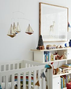 Emily Henderson - nurseries - Oeuf Mini Library, Oeuf Elephant Crib, Baby Deer, white walls, white wall color, white crib, modern white crib...