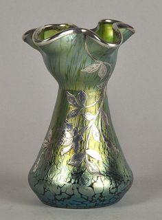 ❤ - Loetz | Green Silvered Vase - 1900.