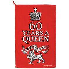 from Emma Bridgewater  An unashamedly celebratory Diamond Jubilee pattern, this Diamond Jubilee 60 Years a Queen Tea Towel celebrates 60 years of Queen Elizabeth's reign