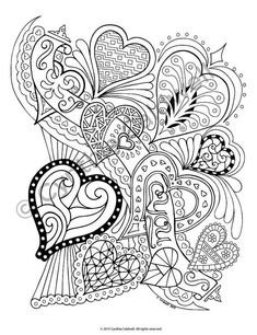 23 Of the Best Ideas for Adult Coloring Pages Hearts . Coloring pages are no more just for youngsters. Coloring books are selling well in the grown-up market. Heart Coloring Pages, Free Adult Coloring Pages, Pattern Coloring Pages, Colouring Pics, Printable Coloring Pages, Coloring Books, Mandala Art, Coloring Pages Inspirational, Zentangle Patterns