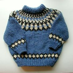 Traditional Icelandic design in vibrant blue with cream and black accents. Knitting Designs, Knitting Patterns Free, Knit Patterns, Baby Boy Knitting, Knitting For Kids, Nordic Sweater, Icelandic Sweaters, Knit Baby Sweaters, Fair Isle Knitting